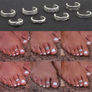 8Pcs-Elegant-Women-925-Sterling-Silver-Toe-Ring-Foot-Adjustable-Beach-Jewelry