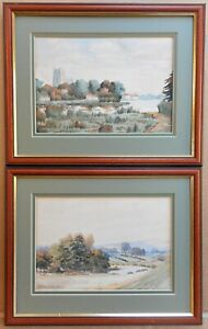 Sutton-upon-Derwent-PAIR-of-Watercolours-by-listed-artist-Herbert-Wood-1926