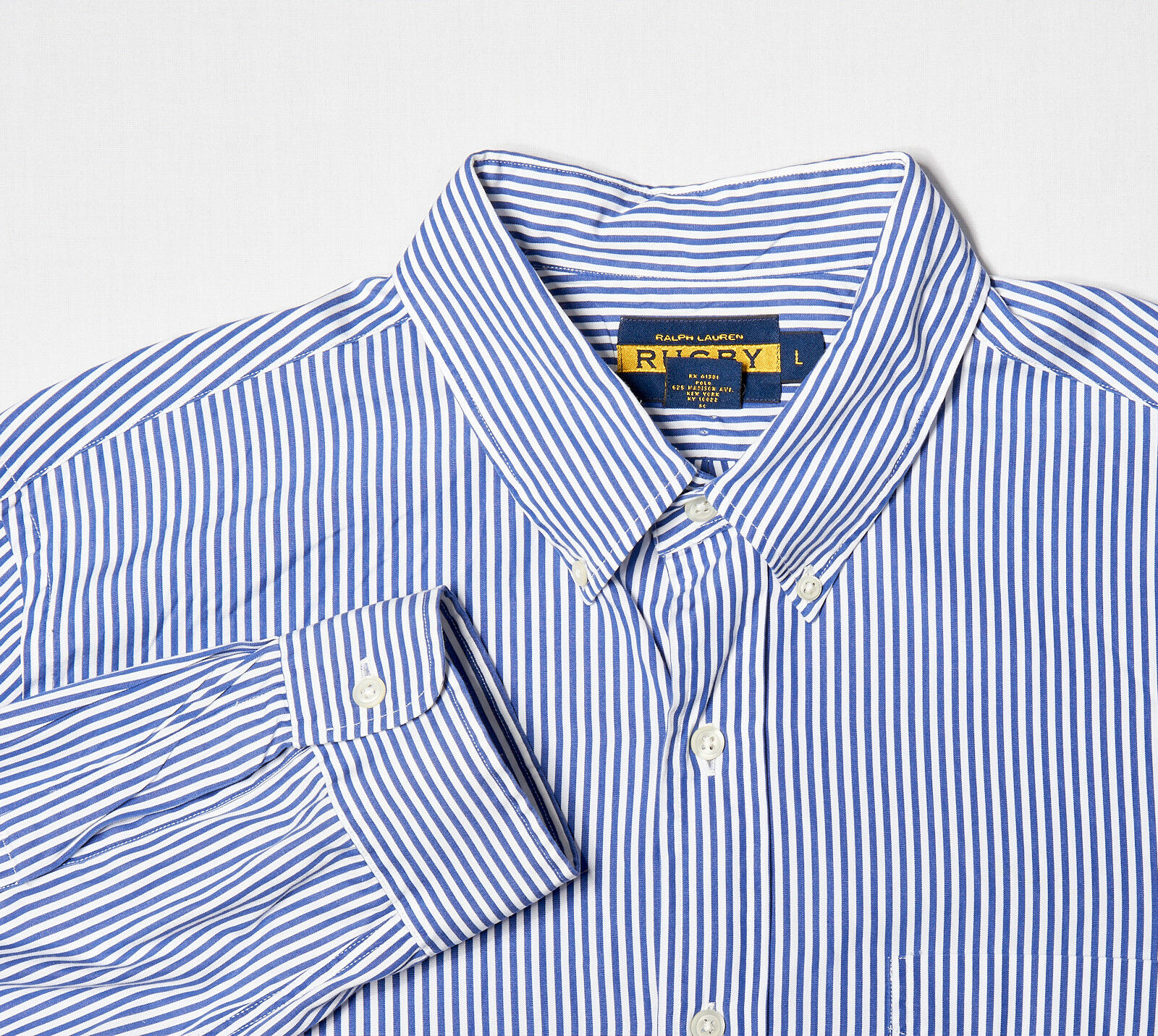 Mens RUGBY RALPH LAUREN Button-Down Shirt L, Lake bluee University Striped Cotton