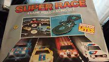 Vintage Super Race 4 lane road racing set like Scalectrix Slot car racing track