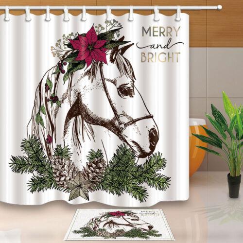 Boho Christmas horse Shower Curtain Bathroom Decor Fabric /& 12hooks 71*71inches