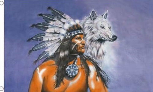 AMERICAN INDIAN CHIEF with EAGLE and WOLF FLAG 5/' x 3/' Native US America USA