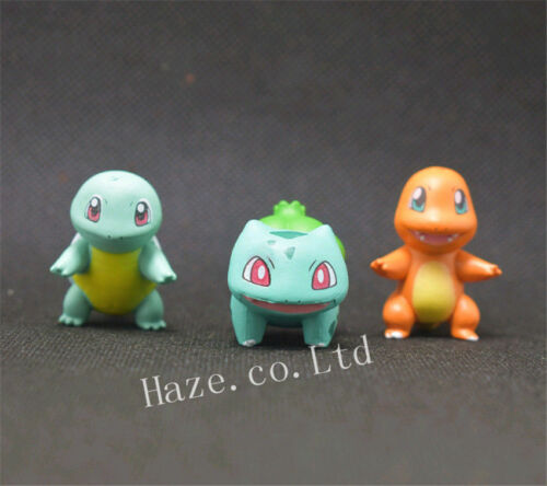 3pcs//Set Pokemon Bulbasaur Charmander Squirtle Figure Figurine Kid Gift