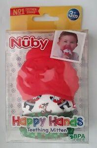 NEW Happy Hands Teething Mitten Nuby BPA Free Santa Clause