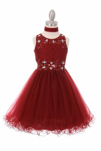 Burgundy Lace Tulle Flower Girls Dress Pageant Wedding Christmas Graduation 5010