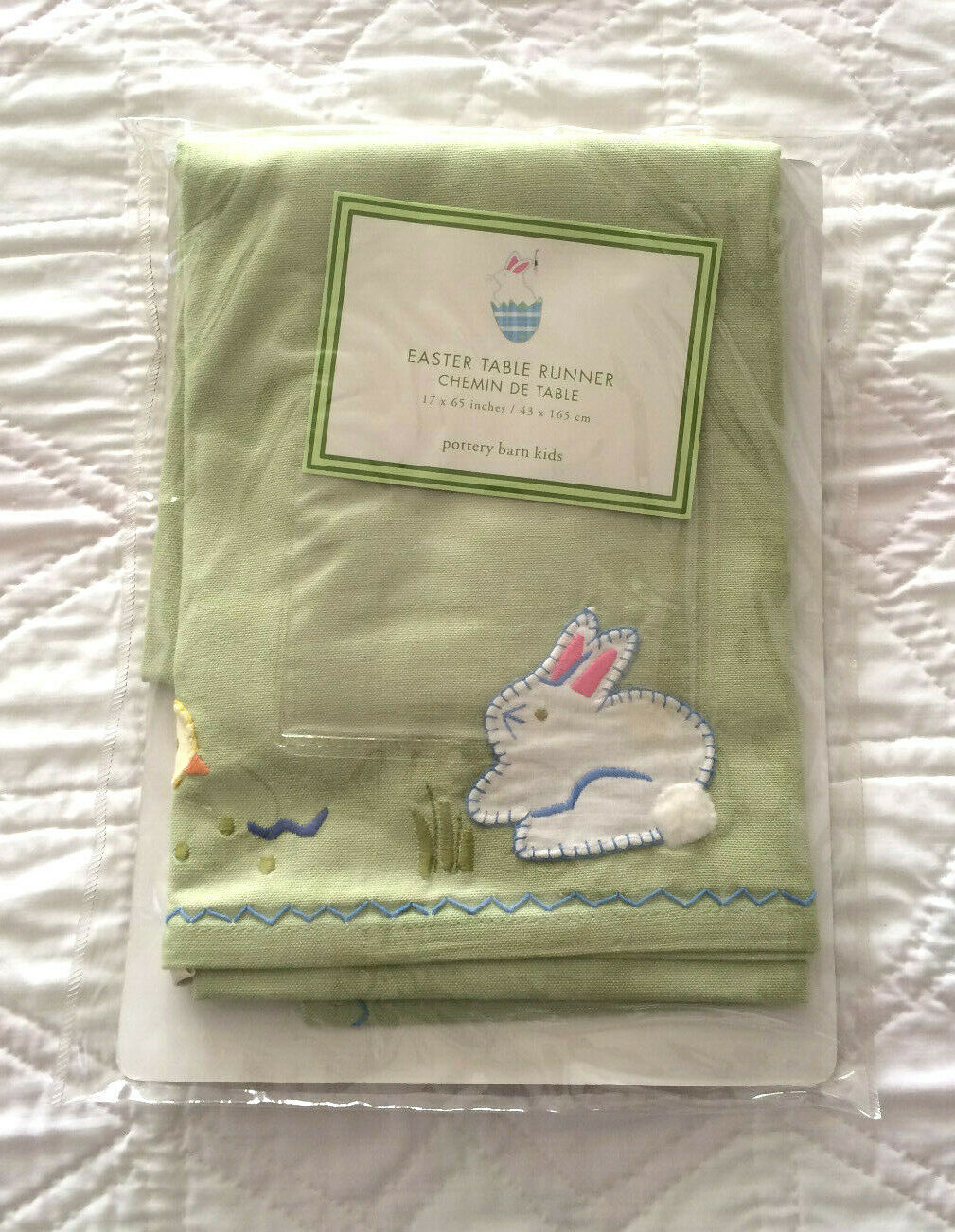 Pottery Barn Floral Bunny Table Runner 18x108 Cotton Linen Spring New