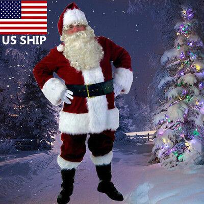 Adult Christmas Costume Deluxe Velvet Santa Suit