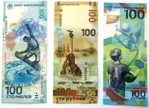 Russland-100-Rubel-2014-Sotschi-2015-Krim-2018-Fifa-UNC-Set-3-Stueck