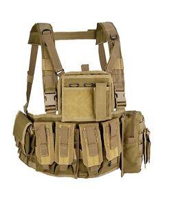 Gilet tattico softair/militare molle recon chest rig Defcon5 Tan.