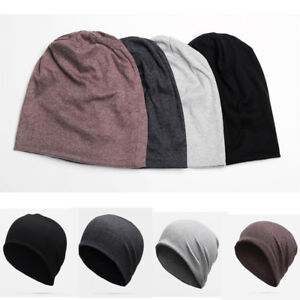 37445805caf Image is loading Men-Cotton-Winter-Slouch-Skull-Oversize-Solid-Beanie-