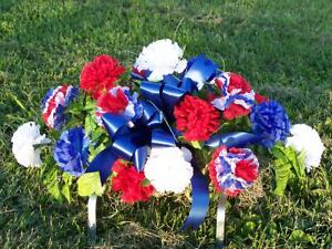 Cemetery-Memorial-Day-Tombstone-Saddle-Grave-Flowers-Patriotic-July-4th-Holiday