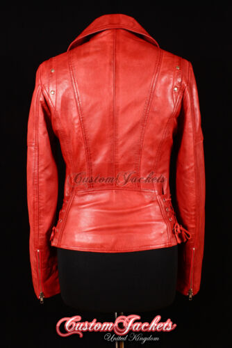 Jacket Motorcycle Designer Washed Studded Ladies Biker Girl Siren Leather Red gznx1BZ