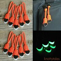 (10) Paracord Zipper Pulls - 550 Paracord Glowing Cord Ends Gitd - Safety Orange