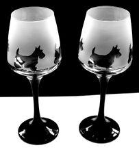 Scottie dog gift Wine Glasses black stem  Boxed