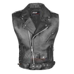 New Mens Leather Motorcycle Biker Vest Antique Side Laces Classic Style