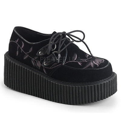"""CREEPER-219 3/"""" VELVET W//EMBROIDERY FLOWER DETAIL GOTH  LACE UP PLATFORM OXFORD"""