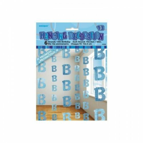 6pcs of 5ft 13th Birthday String Glitz Blue Hanging party Decorations