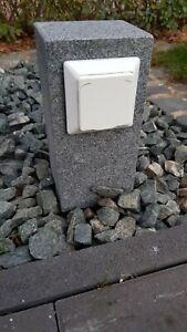 Gartensteckdose Außensteckdose Granit Anthrazit Steckdosensäule Naturstein