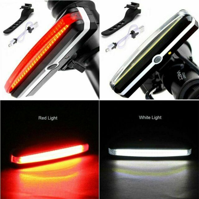 Bike Bicycle Cycling USB Rechargeable LED Front Rear Tail Light Lamp Waterproof
