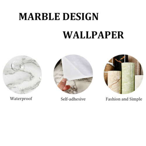 Bedroom Wardrobe PVC Kitchen Cabinets Stickers Marble Wallpaper Self Adhesive