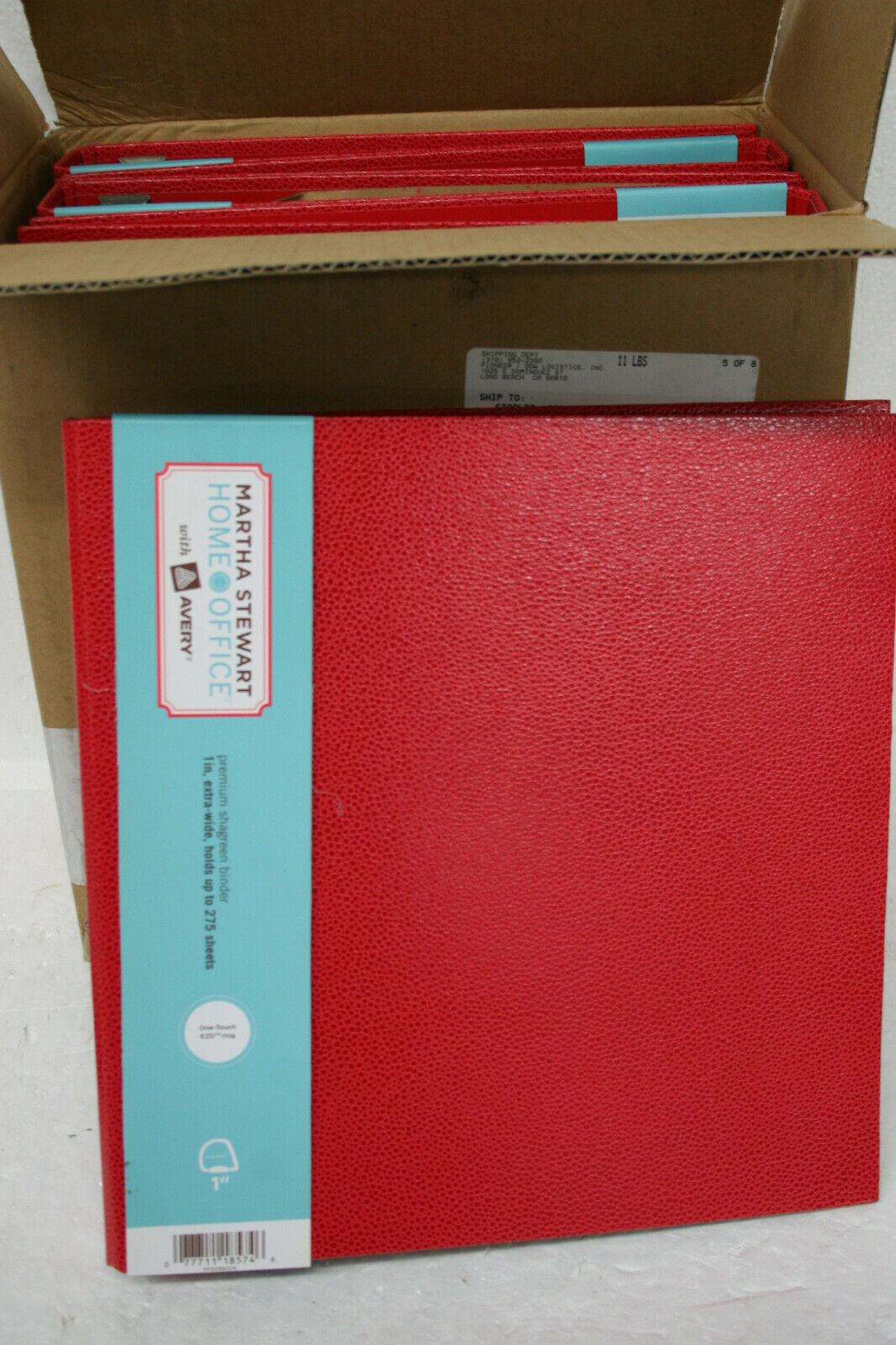 Martha Stewart 18574 1  XWIDE Premium Shagreen binders red 6 count