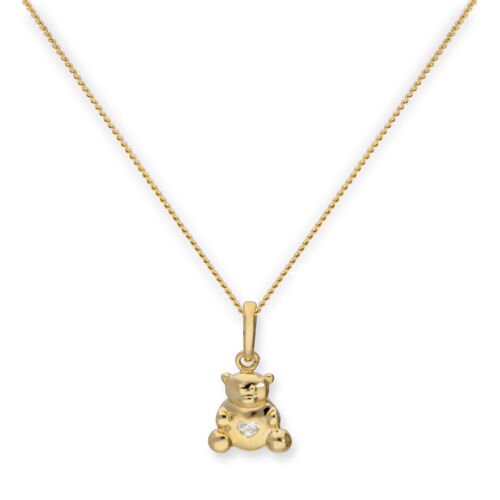9ct Gold Teddy Bear w Clear CZ Crystal Heart Necklace 16-20 Inches