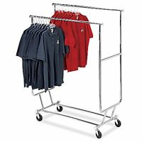 Double Bar Clothing Garment Salesmans Collapsible Clothes Rack Locking Casters
