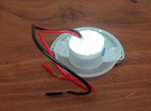 MARINE RV WHITE LED MOUNT HALF ROUND COURTESY LIGHT RECESSED MOUNT CHROME PLATED