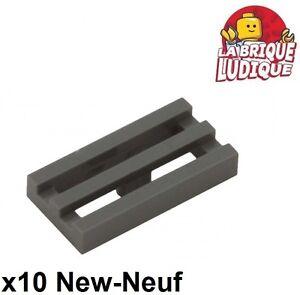 Lego-10x-Tile-Modified-1x2-Grill-Radiator-Dark-Grey-Dark-Bluish-Gray-2412b-New