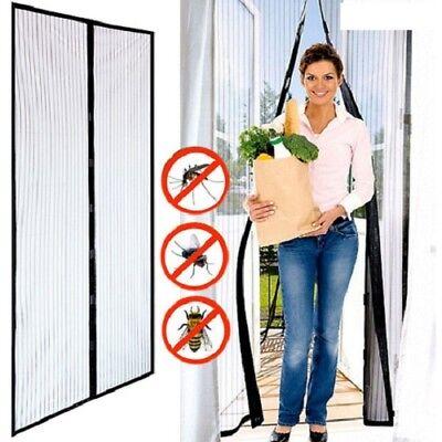 Tenda Zanzariera Magnetica 140x240cm Con Velcro Nera Per Porta Cone Balcone Casa Buono Per Succhietto Antipiretico E Per La Gola