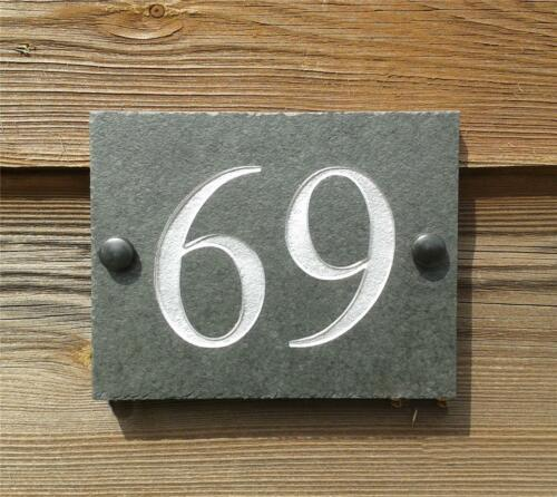 High Quality Engraved Natural Riven Slate House Sign Plaque Any Number 1-9999