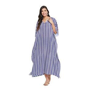 Gypsie Blu Women Plus Size Caftan Boho Gown African Kaftan Blue Maxi Beach Dress