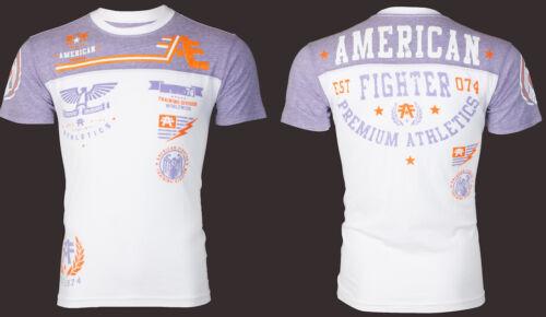 American Fighter T-shirt Homme Blackout Athletic blanc violet Motard Gym UFC 40 $