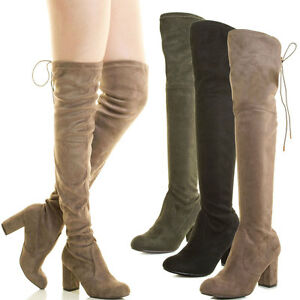 Womens-Over-The-Knee-Thigh-High-Chunky-Block-Heel-Boot-Faux-Suede-Drawstring-Tie