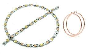 Tri-color-Hugs-amp-Kisses-Necklace-Bracelet-set-for-women-with-rose-gold-hoops-XO