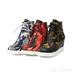 Stylish-Ladies-Camouflage-Wedge-Hidden-Heels-Ankle-Boots-Lace-Up-Round-Toe-Vogue