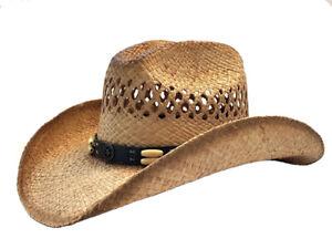 """""""Lone Star"""" Vented Cattleman Raffia Straw Cowboy Hat"""