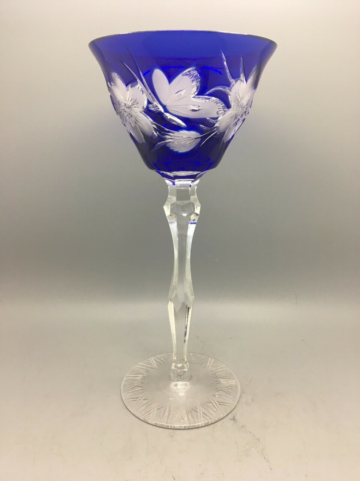 HEAVY BLEU COBALT Flash OVERLAY cristal Taille Jarret verre - 8 1 2  (21.7 cms)