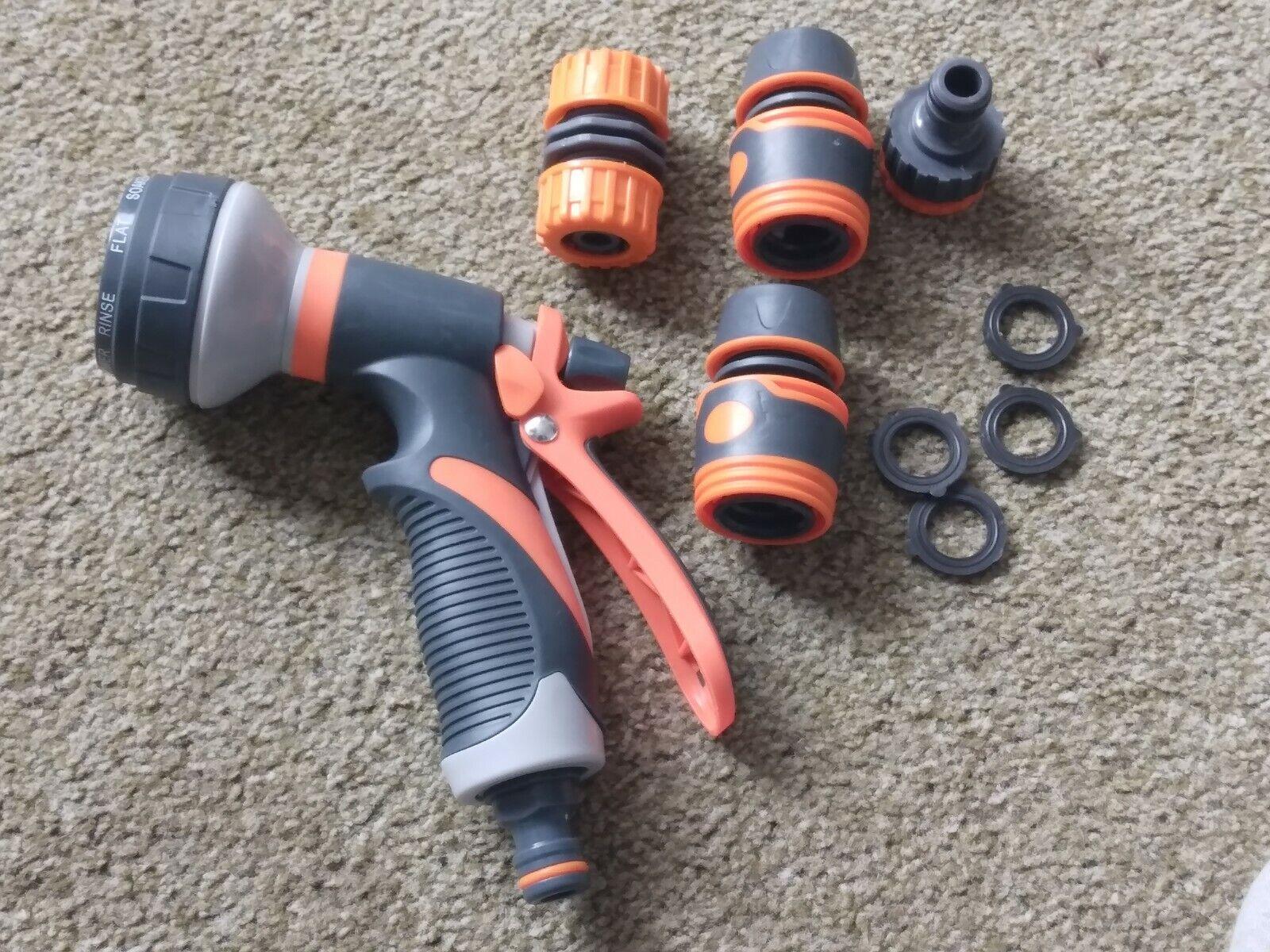 8 Functions Garden Hose Pipe Spray Gun Nozzle Head Adapter Connectors & Fittings