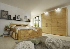 Details zu Schlafzimmer Set massiv Kiefer gelaugt/geölt 4tlg. Bett 180x200  56 hoch Holz-Kop