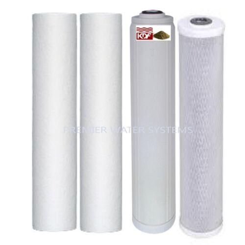 "Premier 4 Water Filter Cartridge 4.5/""x 20/"" 2 Sediment 1 KDF85//GAC 1 CARBON BLOCK"