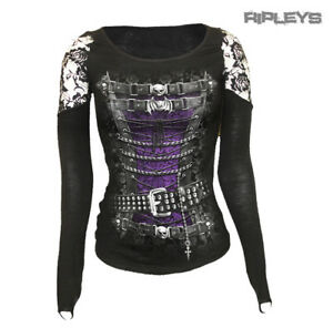 SPIRAL-DIRECT-Ladies-Goth-WAISTED-Pirate-Corset-Lace-Top-L-Sleeve-All-Sizes
