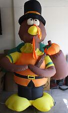 GEMMY Thanksgiving Inflatable 7' Standing Turkey Airblown Lights Pilgrim w/ Hat