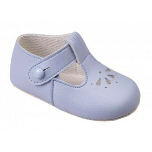 Traditional Baby T-Bar Petal Soft Sole Shoe Blue White,Pink  0-18 month UK 0-3