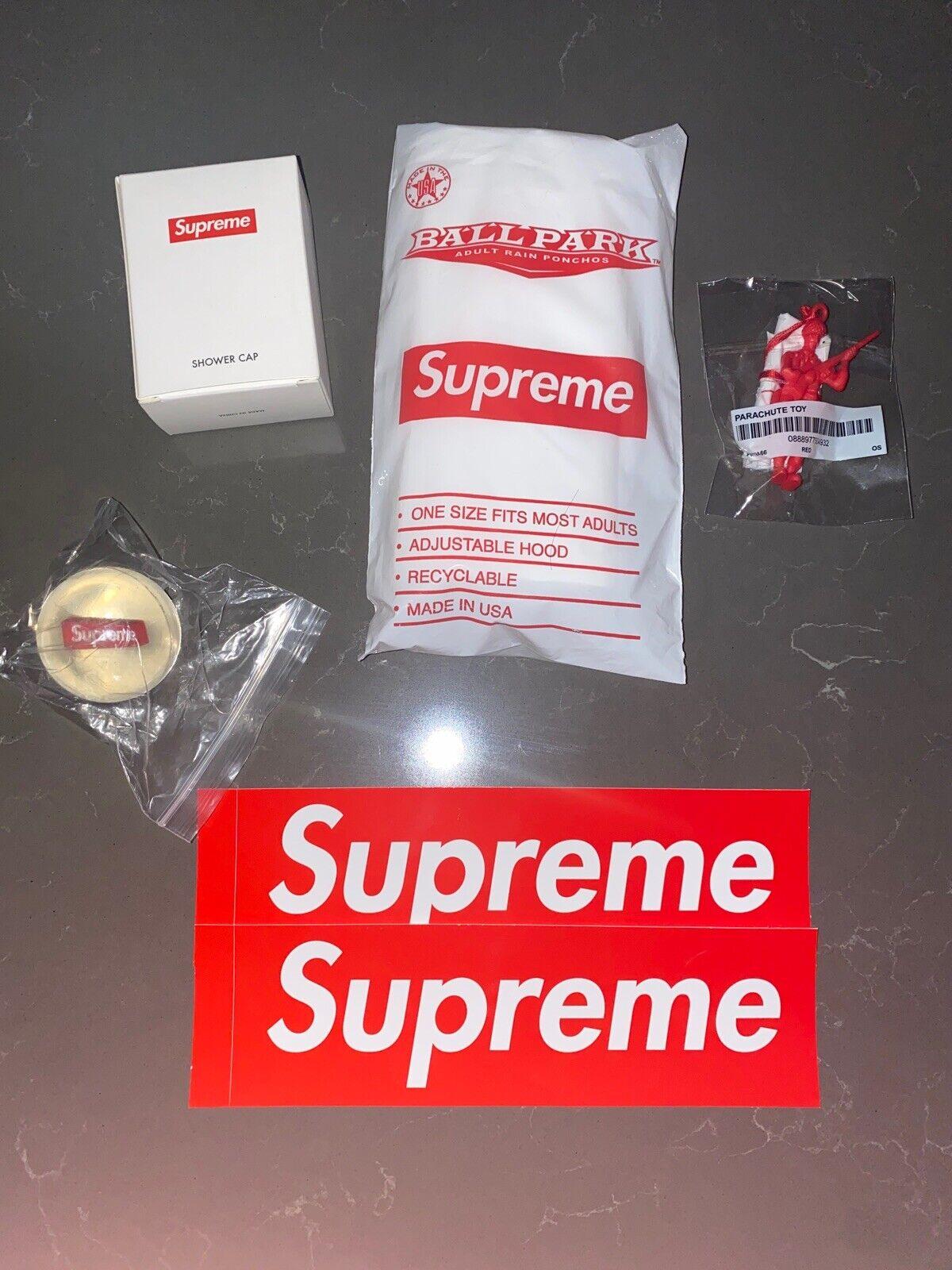 Supreme Free Gift SET Army Man Shower Cap Ballpark Poncho Bouncy Ball & 2 Sticke