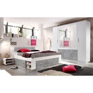 Schlafzimmer Stefan Box 5 Bett Schrank Nachttisch Weiss Beton 4