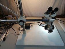 Boom Stand Binocular Stereo Microscope 7x 45x Ring Light Illuminator