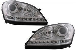 Headlights-LED-DRL-for-Mercedes-M-Class-W164-2005-2008-RHD-Chrome