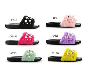a32ec027c9c New Womens Faux Fur Pearl Slide Sandal Mules Slipper Shoe Open Toe ...