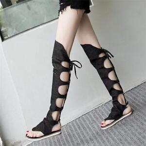 Details about Women Lace Up Strappy Thigh High Gladiator Sandals Over Knee Thongs Summer Boots